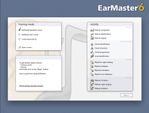 EarMaster 6 Welcome screen