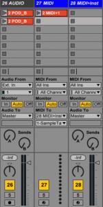 De Gauche à droite : Une piste audio, une piste Midi, une piste MIDI sur laquelle est chargée un instrument virtuel (entrée MIDI, sortie Audio)